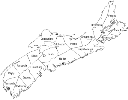 map and counties of Nova Scotia